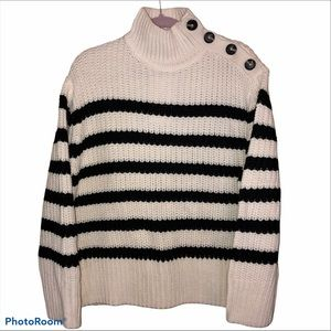 ZARA NWT Chunky Striped Mock Neck Sweater Sz M